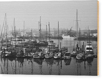 Moss Landing Harbor Wood Print