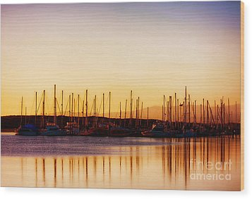 Moss Landing Sunset Wood Print by Polly Peacock