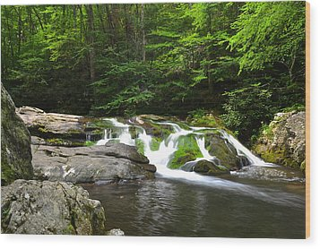 Mossy Falls Wood Print by Frozen in Time Fine Art Photography