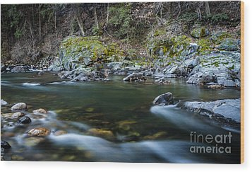 Mossy Rocks Wood Print by Mitch Shindelbower