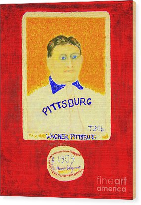 Most Expensive Baseball Card Honus Wagner T206 2 Wood Print by Richard W Linford