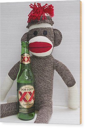 Most Interesting Sock Monkey In The World Wood Print by William Patrick