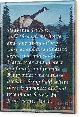 Most Powerful Prayer With Goose Flying And Autumn Scene Wood Print by Barbara Griffin
