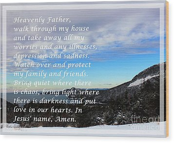 Most Powerful Prayer With Winter Scene Wood Print by Barbara Griffin