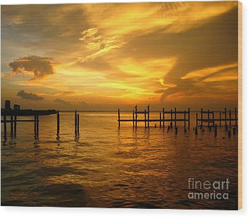 Most Venerable Sunset Wood Print by Kathy Bassett