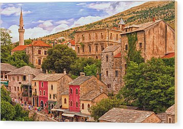 Wood Print featuring the painting Mostar by Michael Pickett