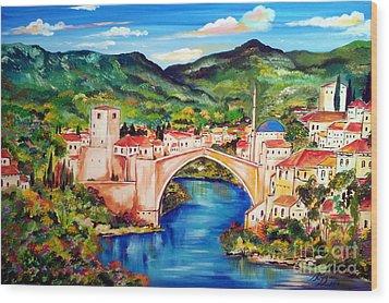 Mostar Wood Print by Roberto Gagliardi