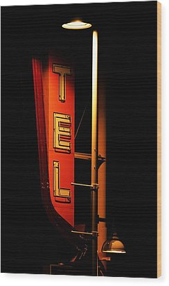 Wood Print featuring the photograph Motel Sign At Night by Daniel Woodrum