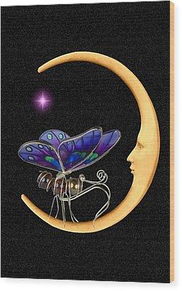Moth On Moon Wood Print