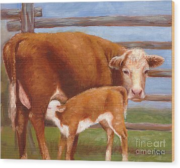 Mother And Baby Cow Wood Print