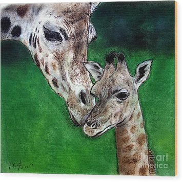 Mother And Baby Giraffe Wood Print