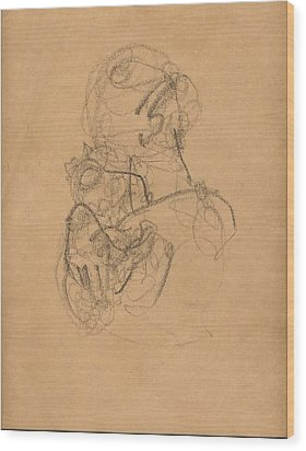 Mother And Baby With Bonnet Wood Print by Mary Adam