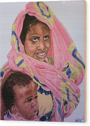 Mother And Child Wood Print by Arron Kirkwood
