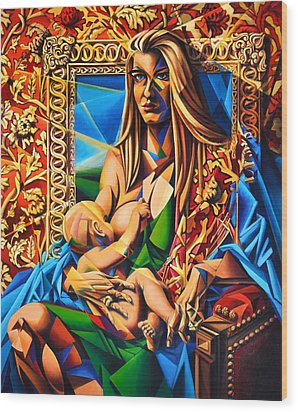 Mother And Child Wood Print by Greg Skrtic