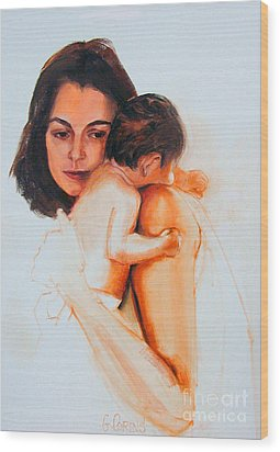 Wood Print featuring the painting Mother And Child by Greta Corens