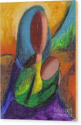 Wood Print featuring the pastel Mother And Child by Karen  Ferrand Carroll