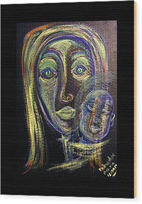 Mother And Child Wood Print by Mimulux patricia no No