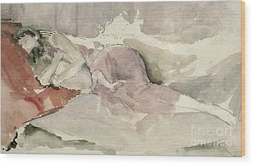 Mother And Child On A Couch Wood Print by James Abbott McNeill Whistler
