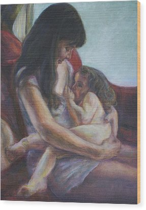 Mother And Child Wood Print by Quin Sweetman