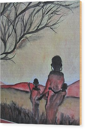Mother And Children Walking In Kenya Wood Print