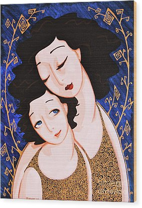 Mother And Daughter Wood Print by Rebecca Mott