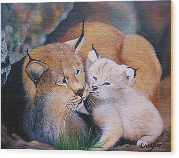 Mother And Kitten Bobcat Wood Print by Jean Yves Crispo