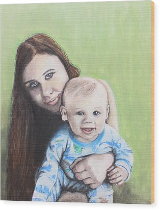 Mother And Son Wood Print by Jeanne Fischer