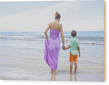 Mother And Son On Beach Wood Print by Kicka Witte
