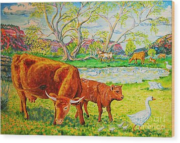 Mother Cow And Bull Calf Wood Print by Annie Gibbons