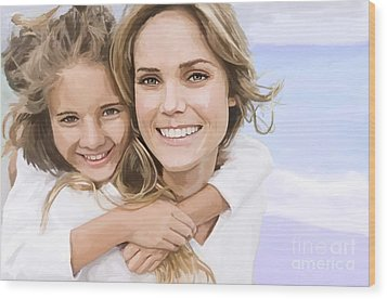 Wood Print featuring the painting Mother Daughter Portrait   by Tim Gilliland