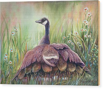 Mother Goose Wood Print by Patricia Schneider Mitchell