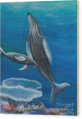 Mother Humpback And Her Calf Wood Print by John Garland  Tyson