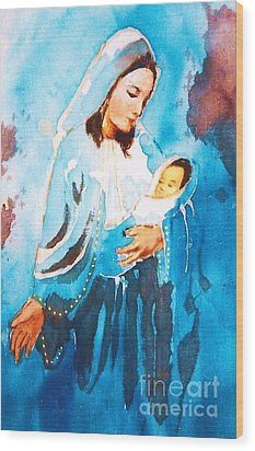 Mother Maria Wood Print by Rose Wang