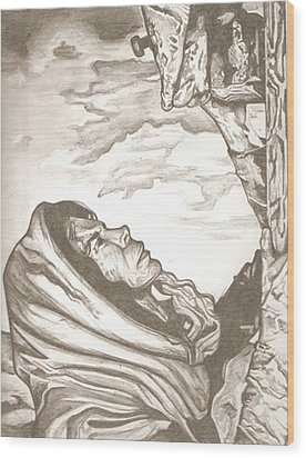 Mother Mary Drawing Wood Print by Robert Crandall