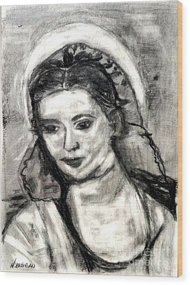Wood Print featuring the painting Mother Mary-let It Be by Helena Bebirian