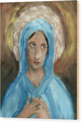 Mother Mary Wood Print by Peg Holmes