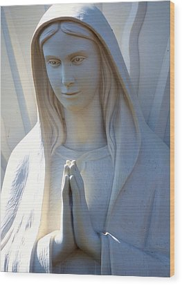 Mother Mary Statue Wood Print by David G Paul