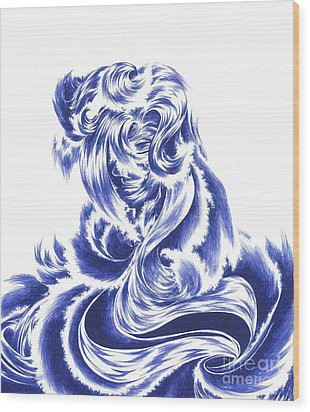 Mother Nature - Face Of The Sea Wood Print by Alice Chen