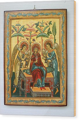 Mother Of God In Heaven With The Archangels Hand Painted Holy Orthodox Wooden Icon Wood Print by Denise Clemenco