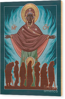 Mother Of Sacred Activism With Eichenberg's Christ Of The Breadline Wood Print by William Hart McNichols