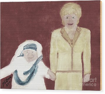 Mother Teresa And Princess Diana In Heaven 3 Wood Print by Richard W Linford