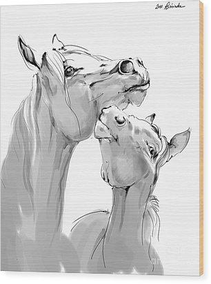 Motherhood Wood Print by Angel  Tarantella