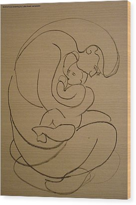 Wood Print featuring the drawing Motherhood by Laila Awad Jamaleldin