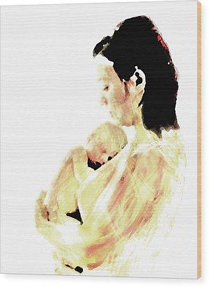 Wood Print featuring the mixed media Motherhood by Lisa McKinney