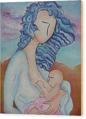 Motherhood Painting Everywhere Original Oil By Gioia Albano Wood Print by Gioia Albano