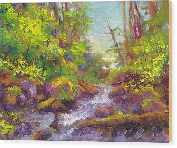Mother's Day Oasis - Woodland River Wood Print by Talya Johnson