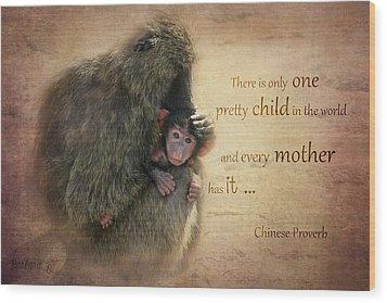 Mother's Love Wood Print by Barbara Orenya