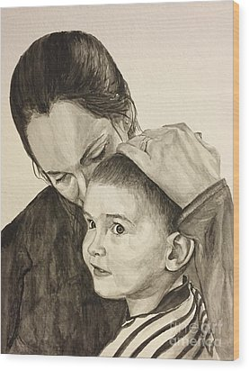Wood Print featuring the painting Mother's Love by Tamir Barkan