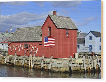 Wood Print featuring the photograph Motif In Rockport by Caroline Stella