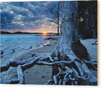 Wood Print featuring the photograph Motivational Landscape-faith Hope Overcome-tree Sunset by Eszra Tanner
